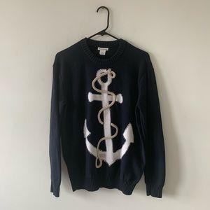 Club Monaco Crewneck Anchor Nautical Sweater